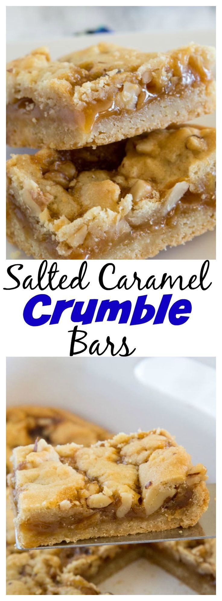 Salted Caramel Crumble Bars – These 5 ingredient bars are buttery, delicious, and so easy to make! You will want to add them to your baking list immediately!