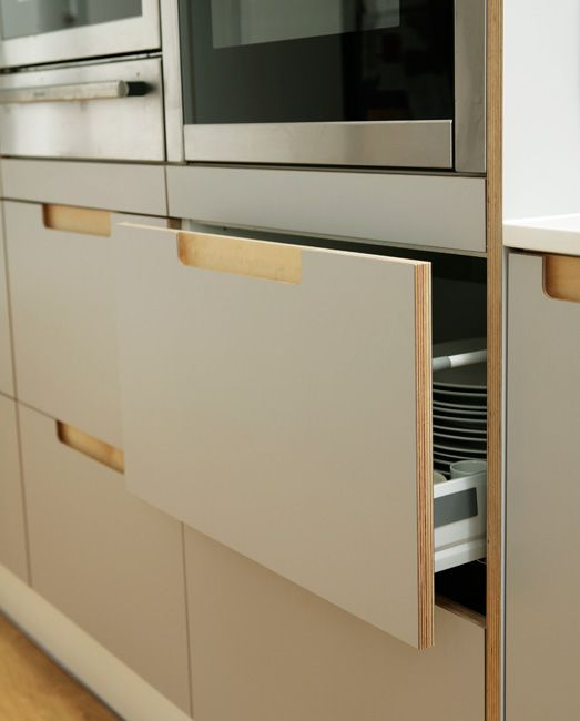 door semi-recessed cut out  with blum tandem box drawer instead of wood Formica & BIrch Ply Kitchens and Worktops by Matt Antrobus