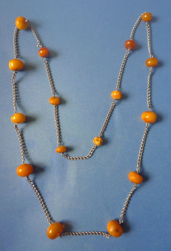 Vintage Jewelry Natural Baltic Amber gemstone Charm Necklace Beads 16psc. Chain