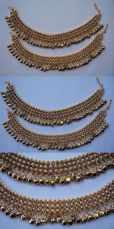 Fashion Jewelry Reasonable Indian Wedding Bridal Gold Plated Ethnic Rhinestone Pearl Payal Anklets Jewelry