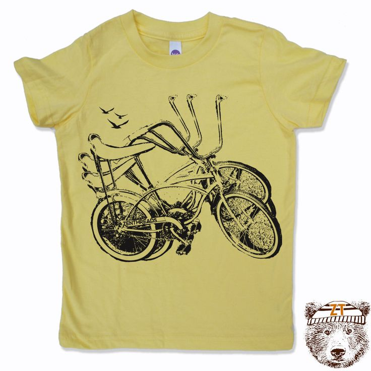 Kids Tee Vintage WHEELIE Bike Shirt - eco screen printed (+Colors) FREE Shipping