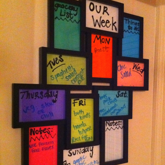 Dry erase pic frame-love this idea. Great for notes or menu for the week...