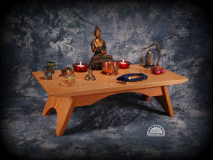 Oak Puja Table Meditation Altar Shrine By Theyankeewoodsmith