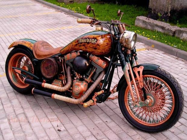 The Wooded Chopper! The paint gives a look of antique wood on this custom built chopper motorcycle.