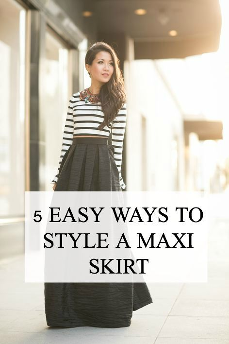 Not sure how to wear the long skirt hanging in your closet? Here are 5 easy ways to style a maxi skirt. In this tutorial, you'll find the right shirt to create the best outfit, and be able to dress your skirt up or down. Because fashion.