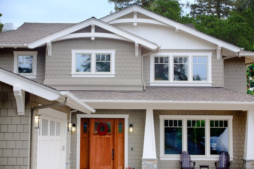 Craftsman exterior details shake siding white tapered for Exterior window styles