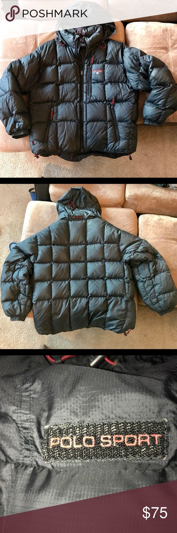 Ralph Lauren Sport Puffer Down Coat XXL Rare Mens Vintage 90s Polo Sport Ralph Lauren Goose Down Puffer Coat Siz XXL.  Black with Red detail at zippers and drawstrings. Drawstring at the bottom.  In very good shape. Ralph Lauren Sport Jackets & Coats Puffers