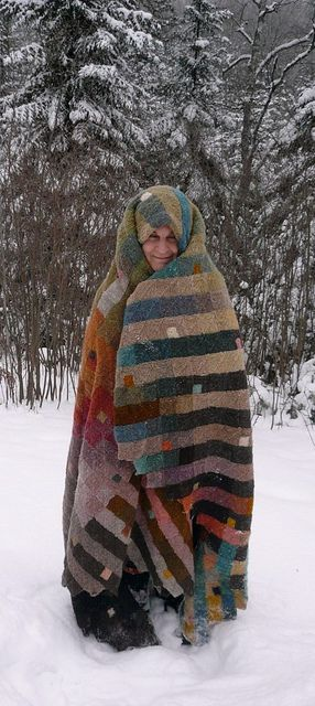 """Mona Abdel-Rahman My knitted blanket 2012 """"eternity-squared""""  Raw fleece: 3 days to wash and dry; about 2-3 years to hand-card the wool and spin on a Turkish ..."""