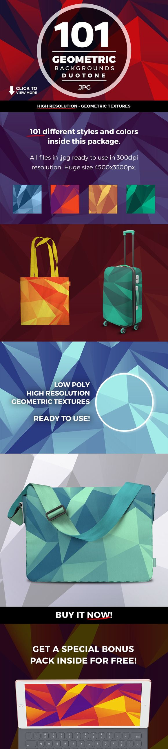 Geometric Triangle Backgrounds 101+ by caiocall on @creativemarket