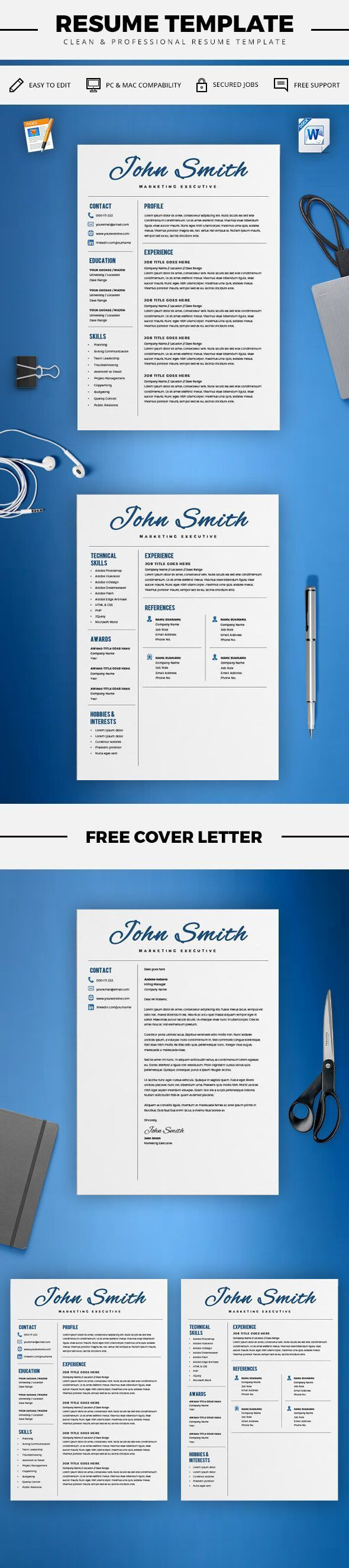 creative resume template cv template cover letter word and pages 2 page