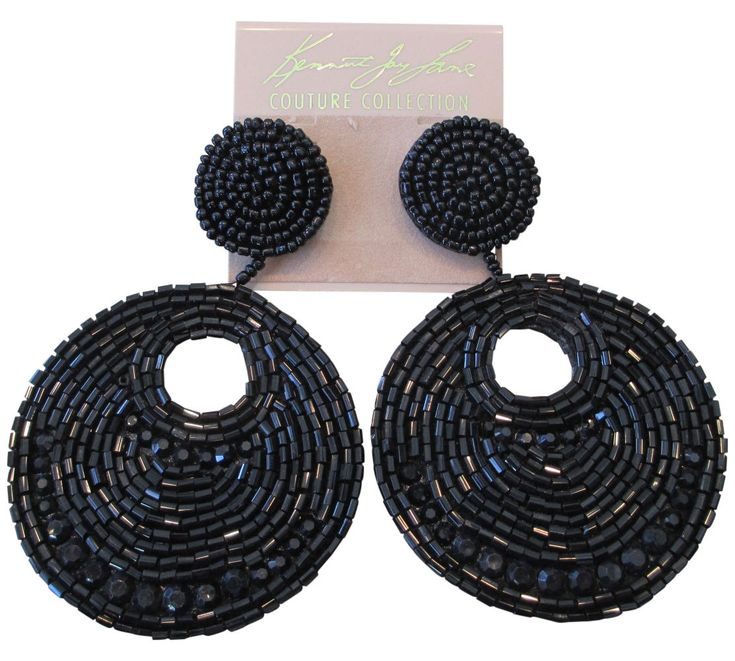 Kenneth Jay Lane Black Seed Bead Gypsy Beaded Drop Pierced Earrings | eBay
