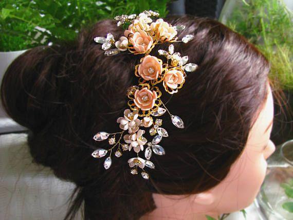 Bridal hair vine. Wedding Hair vine. Hair branch Peach hair