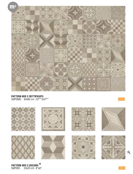 Square Pattern Mix (Italgraniti) For the entrance floor, SDD floor, shower back wall. On the side bathroom walls no patterns.