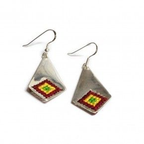 Sterling silver earrings.Handmade embroidered silver. Traditional patterns. Greek embroidery patterns