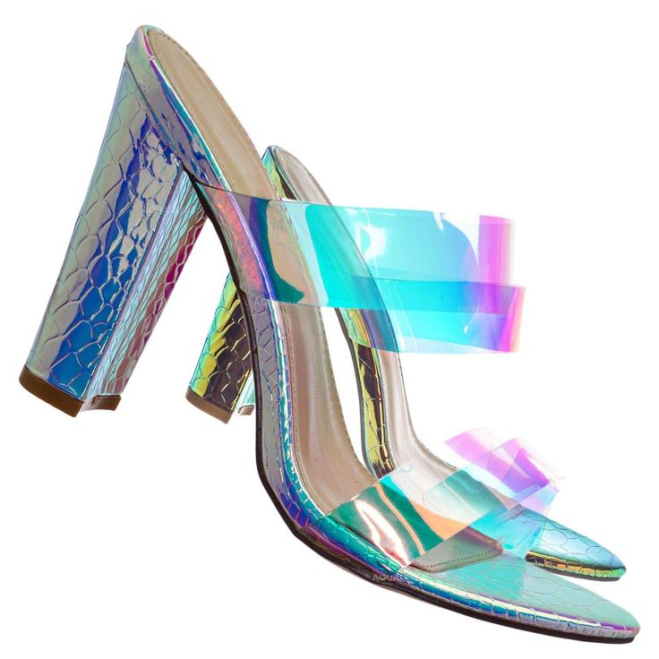 Product Detail : These high heel mule features a chunky block high heel, peep toe opening, slide in construction, double clear vinyl / Lucite / transparent vamp, lightly padded insole, snake embossed print upper and metallic iridescent fabric.Fitting : True to size Product Detail :Box : Shoes will be shipped in either original box or replacement boxGet sexy in these glamorous embellished dress sandals. Perfect for weddings, evening dinner, gala, parties, clubbing, dates, quinceanera, proms… Chunky High Heels, Sadie Hawkins Dance, Embellished Dress, Dress Sandals, Iridescent Fabric, Heeled Mules, Winter Formal, Your Shoes, Peep Toe