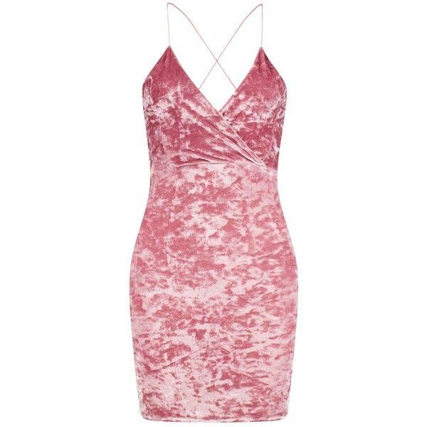 Boohoo Petite Isobel Crushed Velvet Wrap Bodycon Dress | Boohoo (55 BAM) ❤ liked on Polyvore featuring dresses, boohoo dresses, body con dress, body conscious dress, petite bodycon dresses and red crushed velvet dress