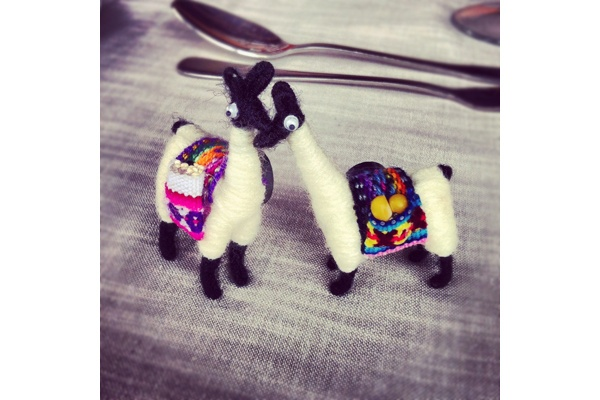 Berit Baugher, Fathom assistant editor | Two little wool llama figurines with colorful blankets on their backs and poppy seeds and corn kernels in their pockets.