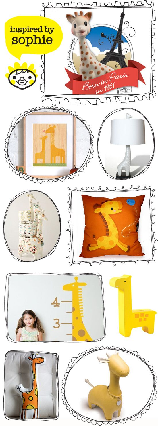 Sophie Giraffe Teether and other Giraffe inspired playful home decor for kids nursery