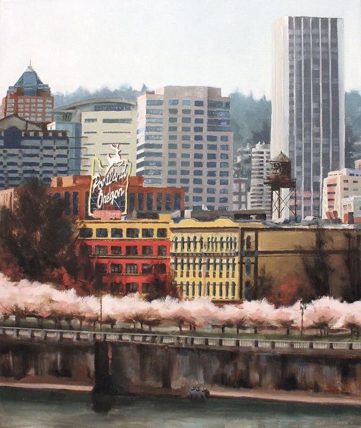 Oil painting of Portland Oregon Waterfront