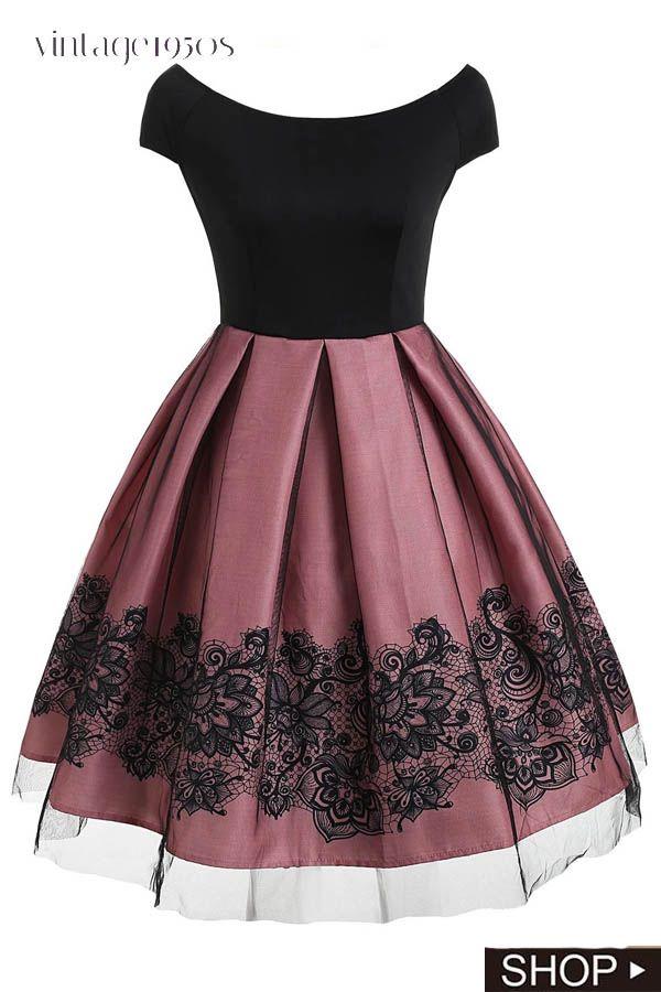 1950s Floral Print Off Shoulder Dress
