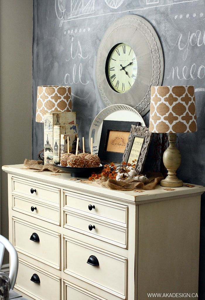 Favorite Fall Vignettes!  Love this color for the nightstands