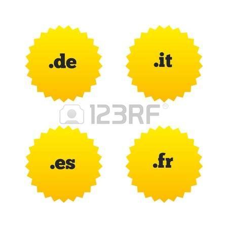 iconos de dominio de Internet de nivel superior. DE, IT, ES, FR, símbolos. Únicos nombres DNS nacionales. estrellas amarillas etiquetas con los iconos planos. Vector