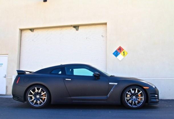 2014 Nissan GTR with a matte black vehicle wrap by SmartWrap in Phoenix, Arizona  smartwrap.com