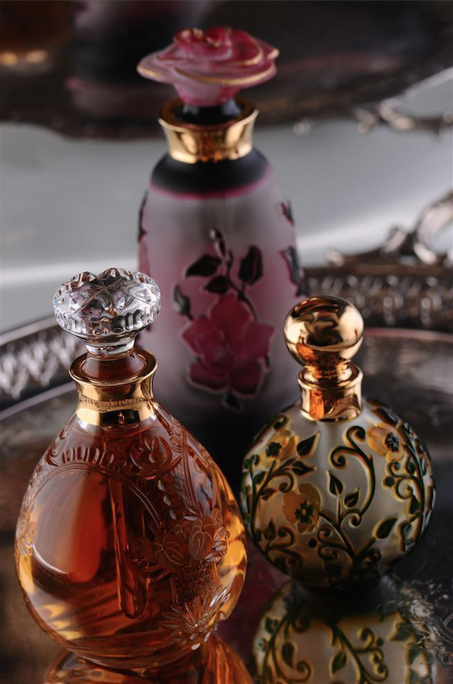 Perfume bottles - OHH!! - THESE BOTTLES ARE JUST GORGEOUS, ESPECIALLY TOGETHER!! - THE COLOURS ARE DIVINE!! ⚪️                                                                                                                                                                                 More