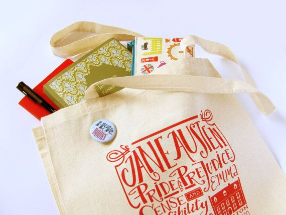 Jane Austen tote bag with titles of all her by PemberleyPond, €15.00