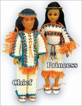 Chief and Princess Dolls - I love how these are labeled, in case you can't tell which one is wearing pants...