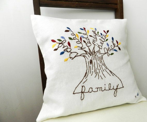 Personalized Family Tree Pillow Cover. Mothers Day Gift. 16 inch. White Linen