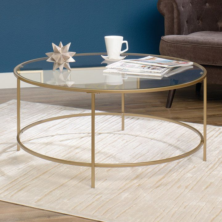 Sauder Woodworking Gold Finish Round Coffee Table