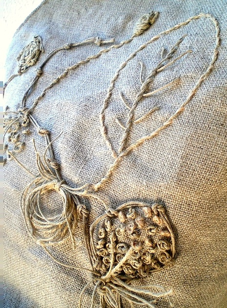 Embroider with twine . . . on burlap!