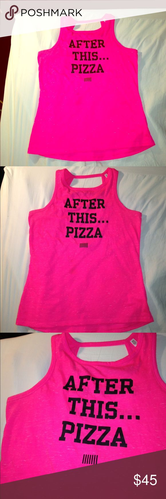 "🍕VS Sport! ""After This... Pizza"" S 🍕#pizza 💞 Marked Hot pink Victoria's Secret Sport Tank size Small. 95% polyester 5% Cotton  In great Preowned condition, no flaws or discolorations. Smoke free home. HTF PINK Victoria's Secret Tops Tank Tops"