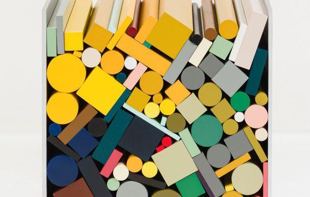 Sophie Smallhorn, Component 1, 2013, Aluminium, PVC, acrylic, urethane board, cellulose paint, 145 x 145 x 145 cm