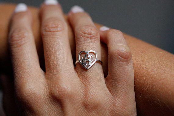 Monogram Ring, Silver Monogram Ring, Letter Ring, Initial Monogram Ring, Heart Monogram Ring