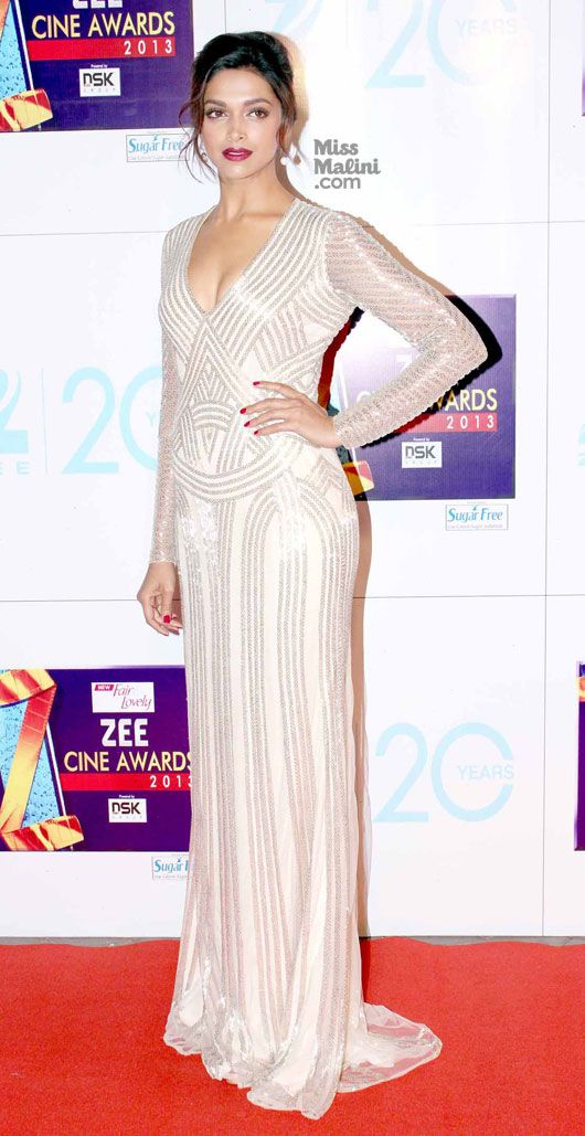 Deepika Padukone at the Zee Cine Awards 2013 in Naeem Khan resort 2013 gown. Mumbai, India.