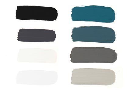 Mijn kleurenpalet: zwart-wit-kleurpalet. Kleuren beeld (van linksboven naar rechtsonder): vtwonen off black, vtwonen mud grey, vtwonen warm white, vtwonen egg white, Flexa Pure full aqua, vtwonen petrol blue, vtwonen concrete, vtwonen light grey