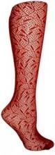 Ruby Red Bamboo Textured Knee High Trouser Socks (Women's)