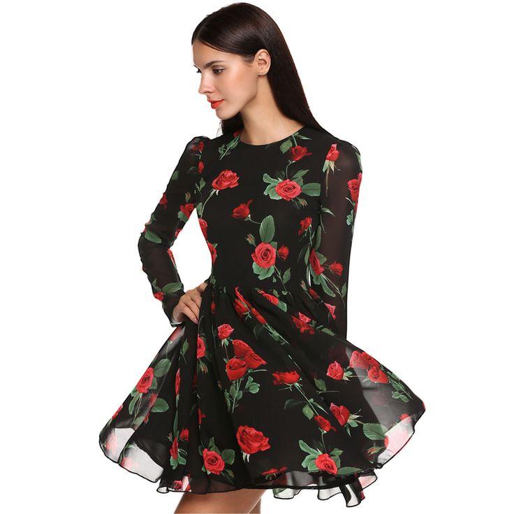 Купить товарFinejo 2016 сладкий тонкие шифоновые платья женщины летнее платье роуз цветочные длинным рукавом мини vestido Большой размер женская одежда S XXL в категории Платьяна AliExpress.                      Технические характеристики                          Finejo Сладкая мода