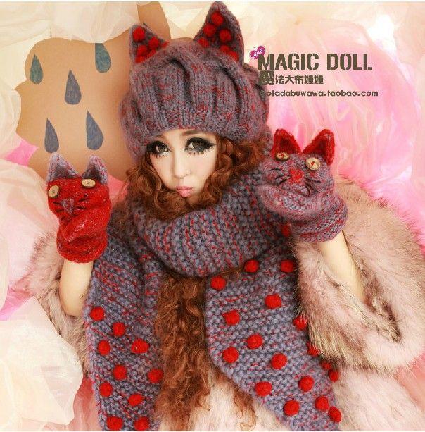 Princesa dulce lolita sombrero bufanda guantes fijados el cuento de hadas polka dot vendimia HARAJUKU orejas de gato demonio retorcido punto cap custom