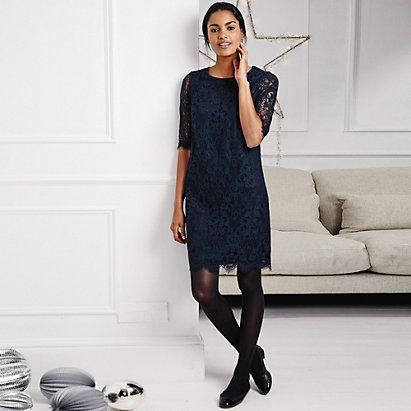 Lace Dress - Navy | The White Company