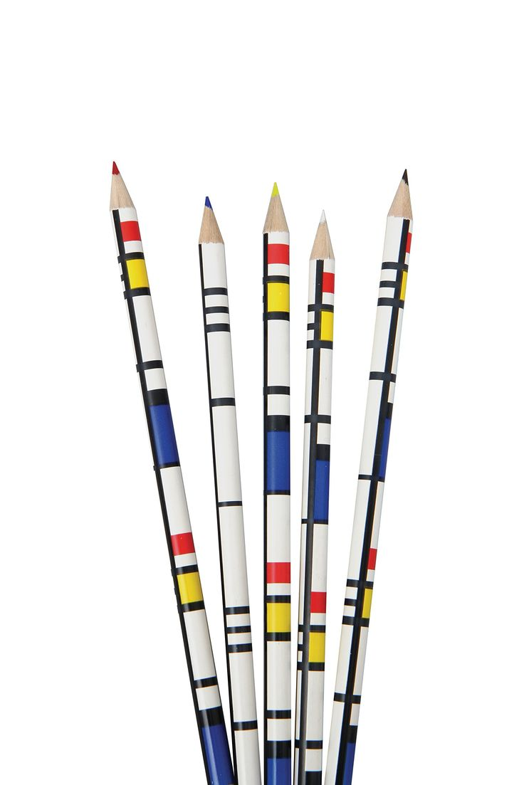 These colouring pencils inspired by the famous minimalist artist Mondrian come in a beautiful box of 10 pencils.