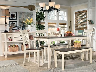 ashley whitesburg cottage two tone dining table w/4 chairs + bench