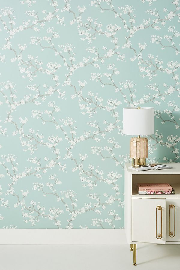 Branches Wallpaper by Anthropologie in Blue, Wall Decor in
