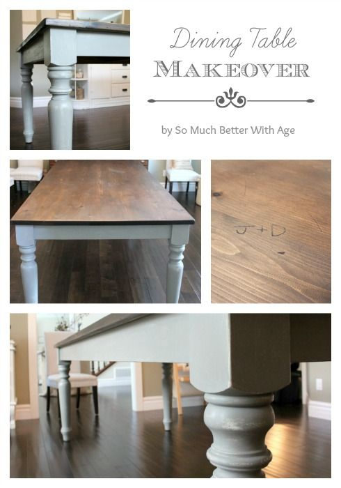 Dining table makeover www.somuchbetterwithage.com #chalkpaint #DIY #table