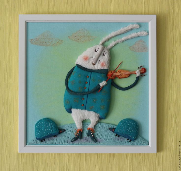 Купить Кролик Скрипач - бирюзовый, картина, иллюстрация, саша кру, кролик, скрипач, скрипка, музыка