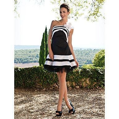 bola vestido de um ombro curto / mini vestido de coquetel de cetim – BRL R$ 270,94