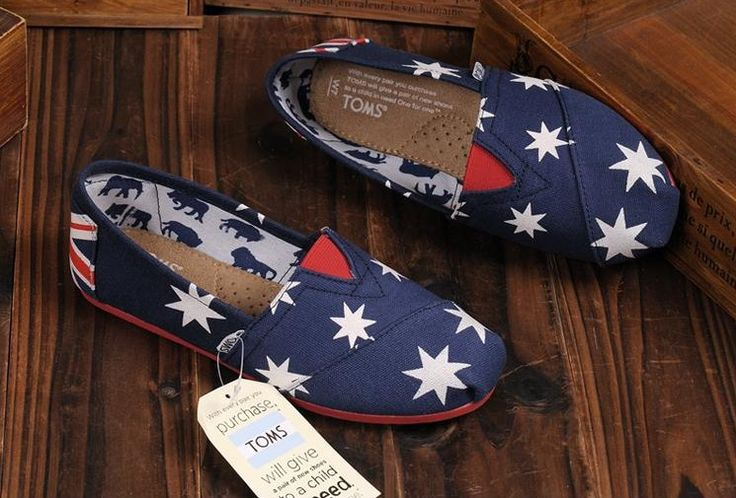 Toms Shoes Womens Classic Navy Blue Red Canvas
