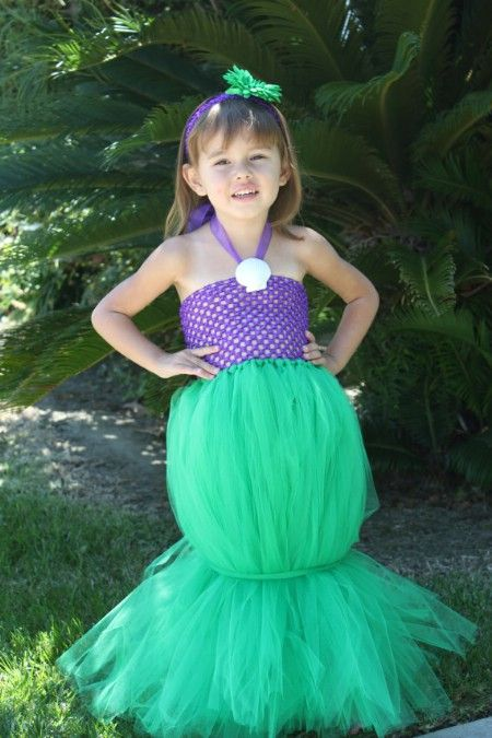 If your little girl adores the Disney Princesses, you can make her very own Aerial costume using some tulle and a few other supplies. Just gather the tulle together with elastic for the waste and the ankle line. Add a purple sparkly top and a headband and you have a great Little Mermaid costume that takes very little time to create